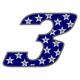 """Adesivo numerico Racing Stars """"3"""""""