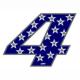 """Adesivo numerico Racing Stars """"4"""""""
