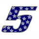 """Adesivo numerico Racing Stars """"5"""""""