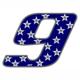 """Adesivo numerico Racing Stars """"9"""""""